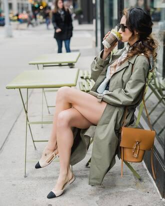 coat tumblr grey coat yellow bag trench coat bag yellow shoes flats ballet flats slingbacks spring outfits