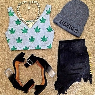 tank top top fashionista crop tops summer marijuana shorts shoes shirt t-shirt necklace hat jewels