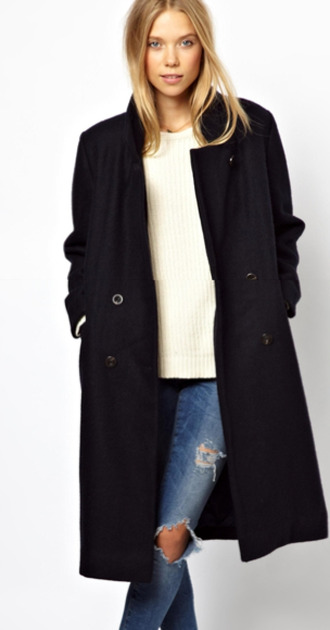 coat wool long overknee winter outfits over knee pea coat blue black boyfriend coat woolen wool coat