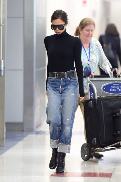 jeans victoria beckham turtleneck fall outfits denim top bodysuit