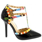 shoes,heels,prom,prom shoes,prom heels,pointed toe pumps,pointed toe,studded shoes,t-strap heels,adora,black heels,cute,colorful,mulitcolor,girly,amazing,spring 2016