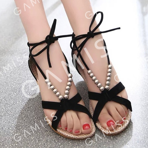 Trendy Solid Color and Beading Design Women's Sandals