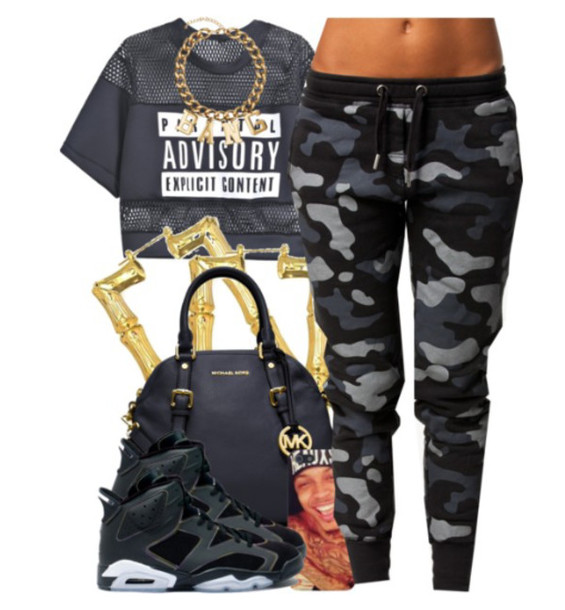 jeans t-shirt jewels grey camo pants pants parental advisory explicit content black mesh crop tops military pants shirt