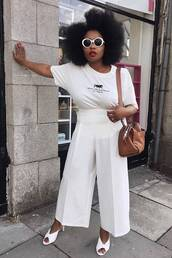 top,logo,white t-shirt,mules,wide-leg pants,high waisted,bag,sunglasses