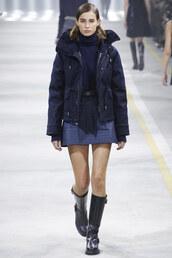 skirt,top,jacket,boots,milan fashion week 2016,runway,fashion week 2016,navy,sweater,mini skirt,diesel