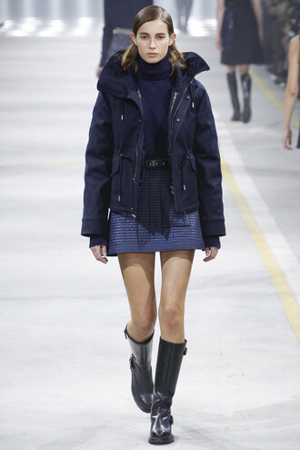 skirt top jacket boots milan fashion week 2016 runway fashion week 2016 navy sweater mini skirt diesel