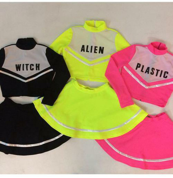 dress top cheer leader two-piece co ord co-ord kawaii cute grunge cheerleading skirt cheerleading pink black yellow alien witch plastic