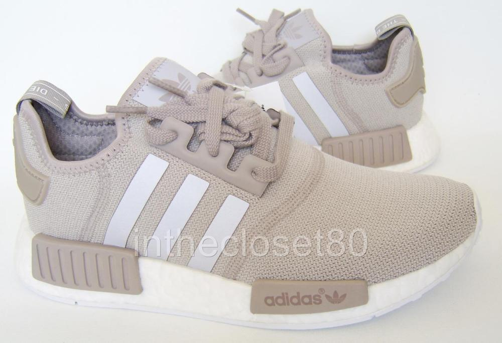 best sneakers 942f9 41631 Adidas NMD R1 W Runner Boost Vapour Grey Beige Knit BA7477 Womens Trainers