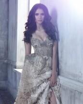 dress,sequin dress,elegant,nude,pretty,prom,sequins,ruffle,glamour,the vampire diaries,wedding dress