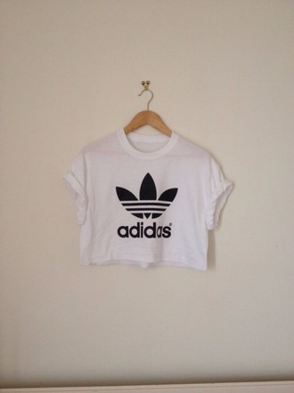 top adidas cropped tee croppedtee white adidascroppedtee