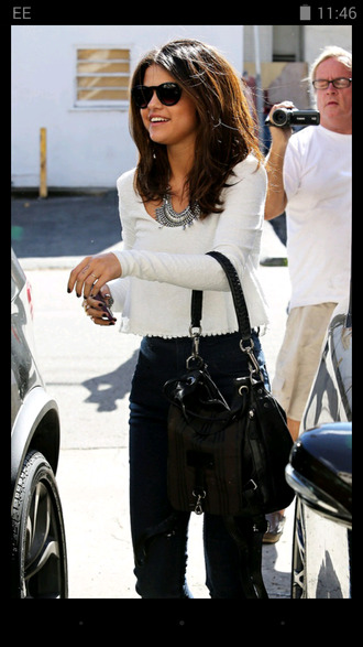 blouse bag style white selena gomez selena gomez black bag