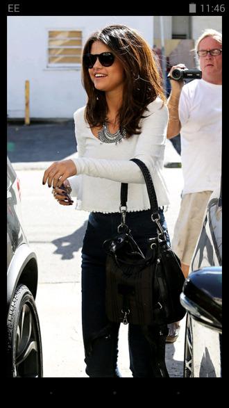 blouse selena gomez white style selena gomez bag black bag jeans