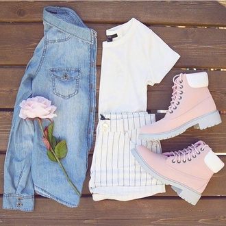 shoes pink white sneakers oots fashion swag style trendy sweet shorts blouse jeans