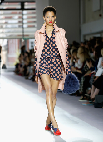 coat nude romper polka dots fashion week runway