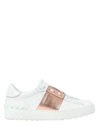 sneakers. open metallic sneakers leather rose gold rose gold white shoes
