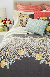 home accessory,paisley,coral,turquoise,grey,bedding