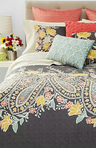 home accessory paisley coral turquoise grey bedding