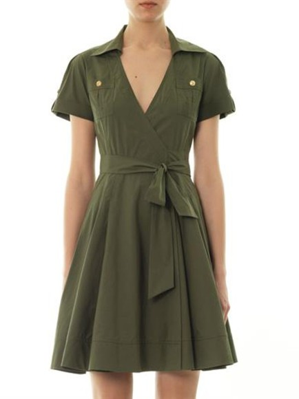 dress khaki kaley dress mini dress diane von furstenberg