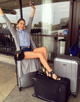 shorts shirt instagram olivia culpo sandals purse cardigan