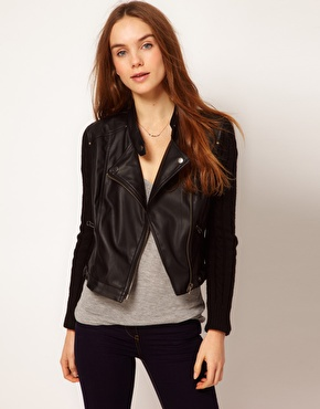 A Wear | A Wear Knit Sleeve Leather Look Biker Jacket at ASOS