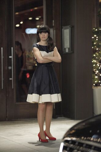 dress new girl zooey deschanel celebrity actress jess day jessica day black and white dress midi dress a line dress pumps mid heel pumps red pumps belted dress