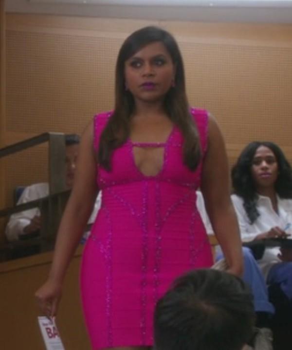 the mindy project mindy kaling pink dress bandage dress curvy
