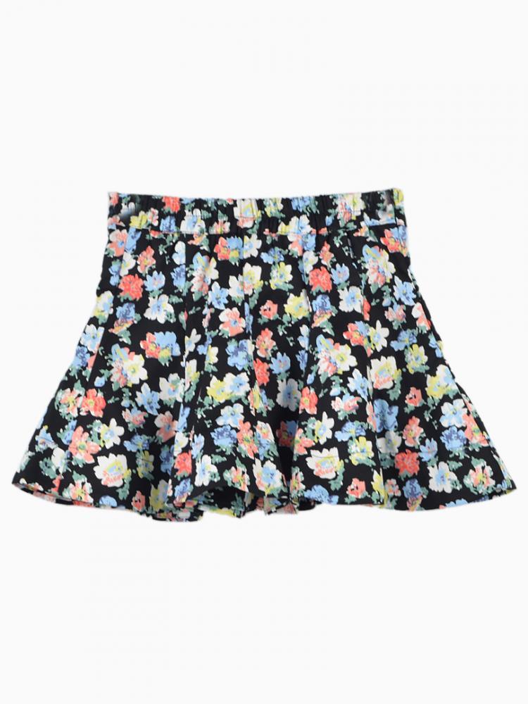 Floral print mini skater skirt