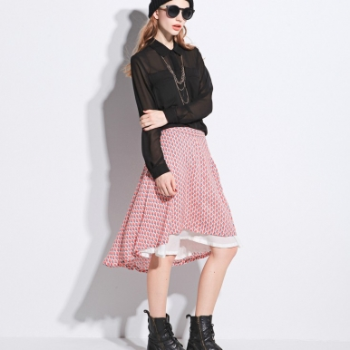 Autumn Newly Irregular Long Pink SKirt