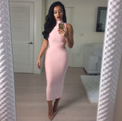 dress,midi dress,pink dress,sexy,sexy dress,midi,high neck,party dress,light pink,amrezy,style,fashion,cool,bodycon dress,club dress,fall outfits,winter outfits,new year s eve,sleeveless,bandage dress,elegant,evening dress,trendy,girly,dope,turtleneck,pink,classy,holiday dress,christmas,clubwear,evening outfits,pencil dress,blush pink,girl,gorgeous,blogger,instagram,birthday dress,turtleneck dress,stylish