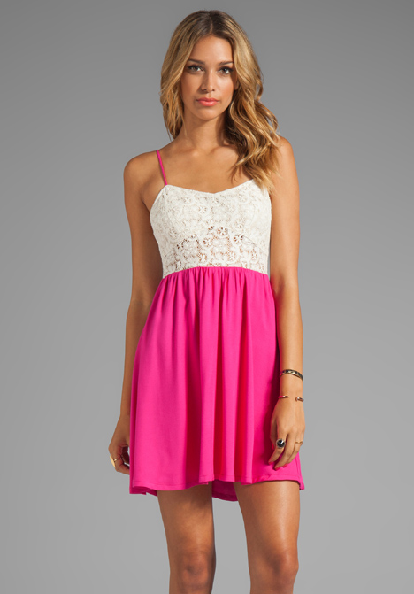 TESTAMENT Crochet Mini Dress in Fuchsia at Revolve Clothing - Free Shipping!