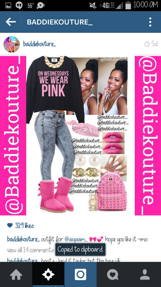 ugg boots outfit idea baddiekouture_ jewels bag instagram sweater jeans bandana pink lipstick nails mcm bag