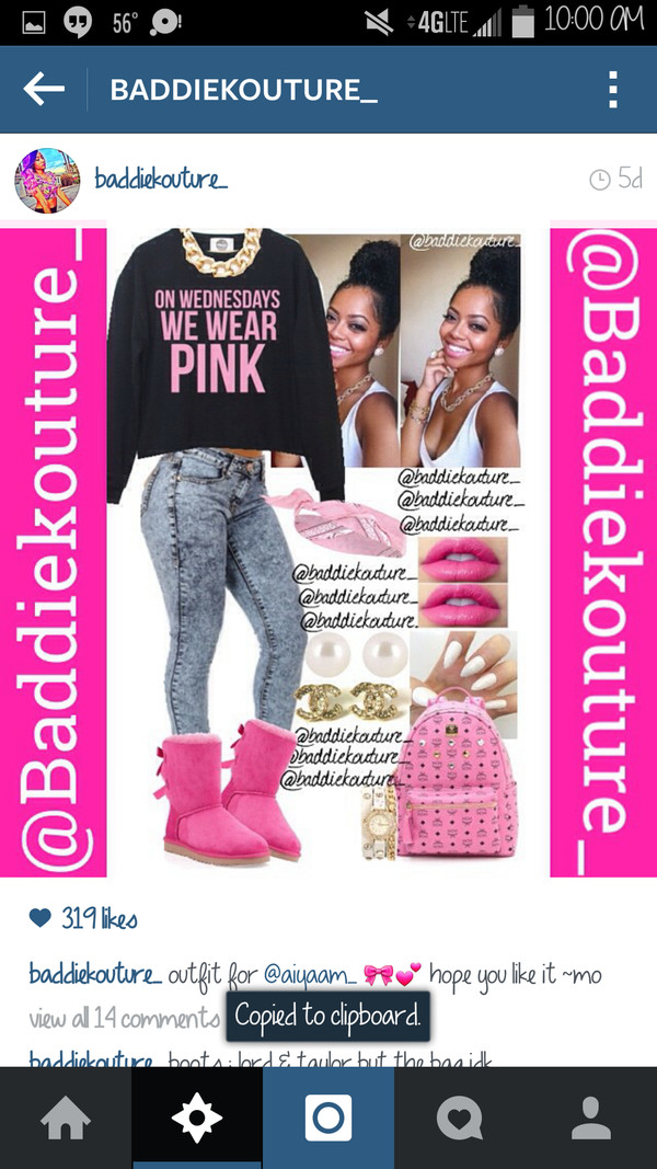 ugg boots outfit idea baddiekouture_ jewels bag instagram sweater jeans ugg boots bandana pink lipstick nails mcm bag