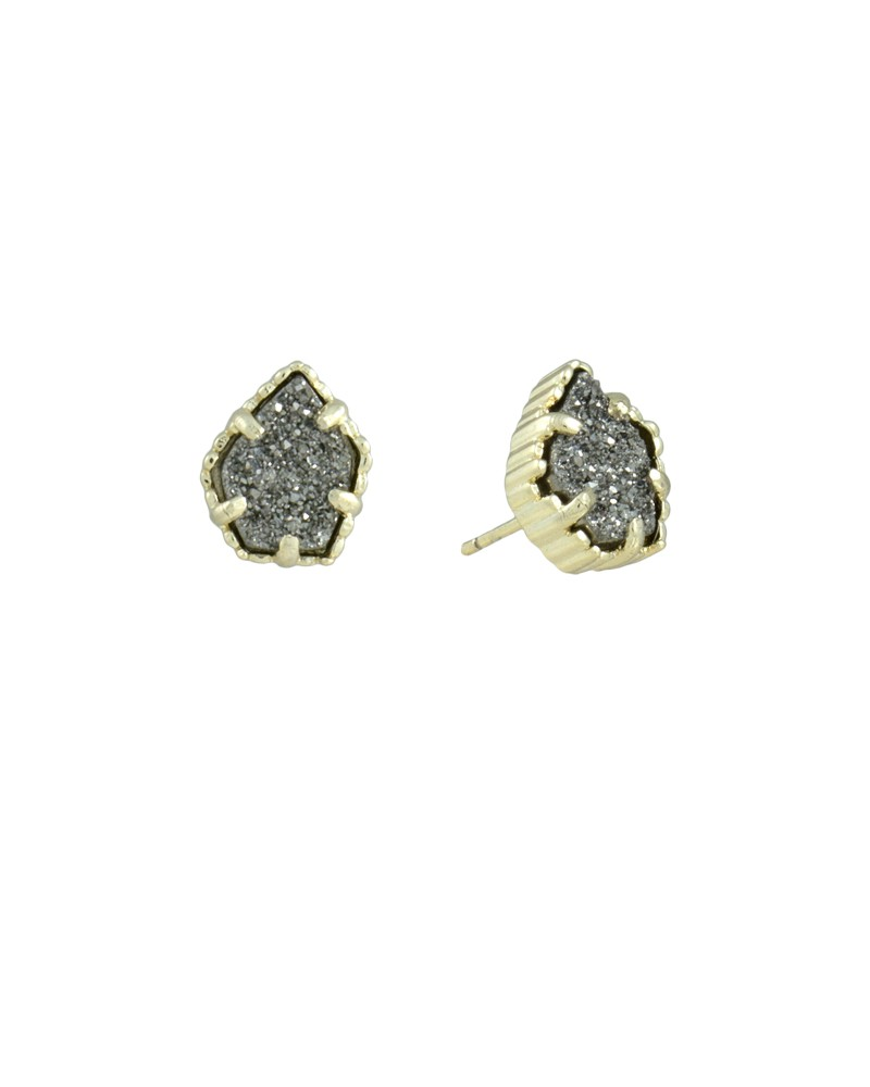 Tessa Gold Earrings in Platinum Drusy - Kendra Scott Jewelry