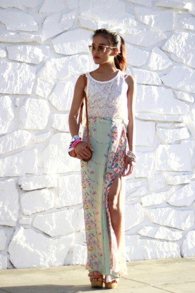 maxi skirt skirt slit skirt maxi floral skirt floral clothes long skirt cherry blossom teal side slit high waisted skirt high heels white longskirt mint green flowers cute top lace floral high heels handbag satchel