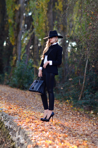 oh my vogue blogger jacket bag jewels classy leather bag stilettos leather pants shirt bowtie tailoring