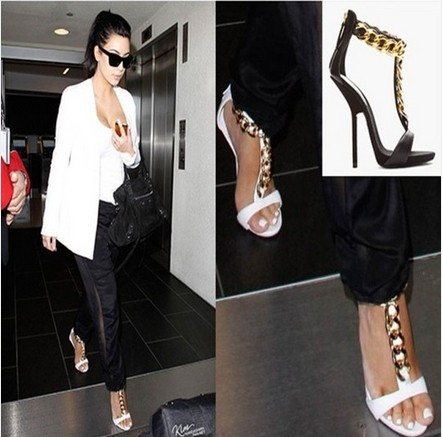 free shipping 2013 chunky gold chain ankle strap sandals design white black genuine leather  heels-in Pumps from Shoes on Aliexpress.com