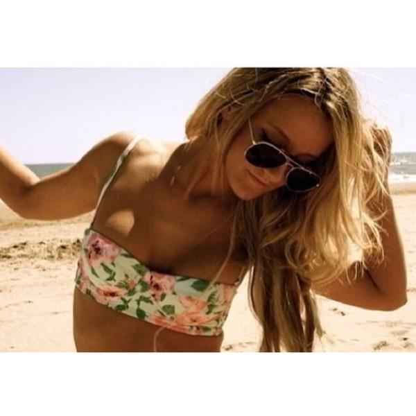 swimwear floral swimwear pink swimwear green swimwear cute floral bikini bikini swimwear