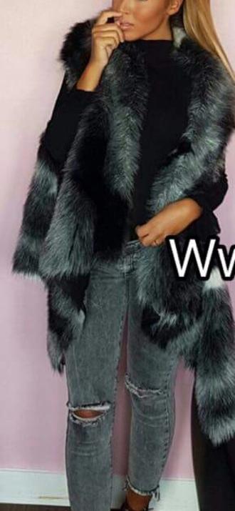 coat vest faux fur vest veste