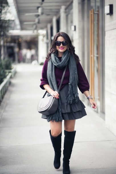 thestyledfox blogger skirt sweater scarf bag jewels sunglasses fall outfits boots crossbody bag purple sweater winter outfits
