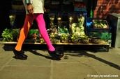 tights,orange pants,pink pants,pants