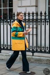 coat,yellow coat,striped coat,top,turtleneck,pants,flare pants,sneakers,black top,streetstyle