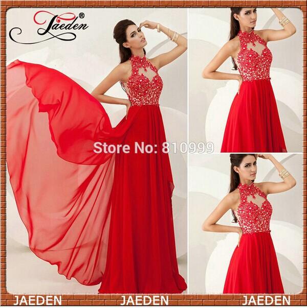 red prom dress applique prom dresses a-line prom dress high neck party dresses