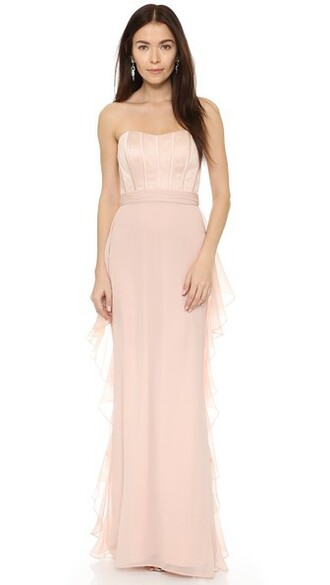 gown strapless ruffle blush dress