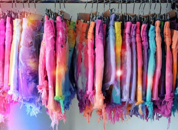tie dye rainbow galaxy print shorts tie dye shorts High waisted shorts high wasted bikini colorful shorts colorful rips tyedye