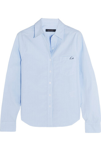 shirt embroidered london cotton blue sky blue top