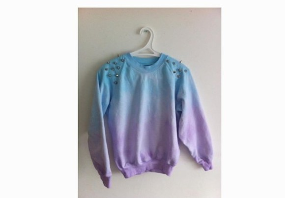 studs purple swag style studded sweater