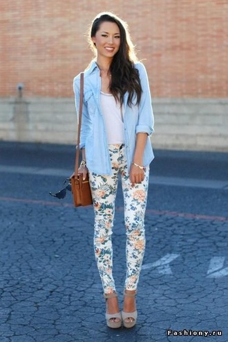 pants white flowers pattern skinny bag