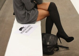 socks knee high socks heels chanel sweater