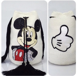bag mickey mouse disney tote bag white black and white