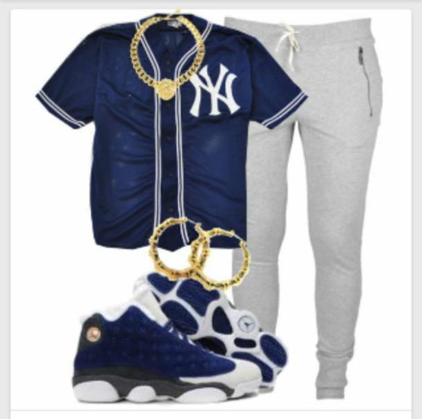 shirt jewels pants jersey sweatpants jordans shoes baseball jersey new york city sweats gold chain jeans urban blouse